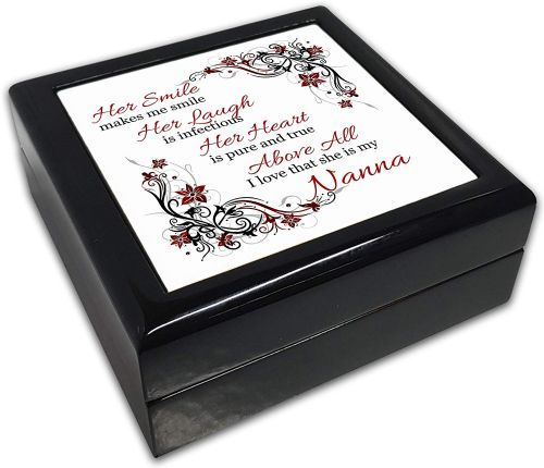 Her Smile Makes Me Smile (Relation) Black Square Jewellery Box
